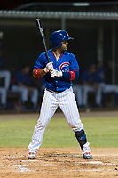 AZL Cubs 2 catcher Richard Nunez (2) at bat during an Arizona League game against the AZL Indians 2 at Sloan Park on August 2, 2018 in Mesa, Arizona. The AZL Indians 2 defeated the AZL Cubs 2 by a score of 9-8. (Zachary Lucy/Four Seam Images)