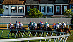 October 3, 2020: The field heads out of the first turn in The Futurity Stakes during Preakness Stakes Day at Pimlico Race Course in Baltimore, Maryland. John Voorhees/Eclipse Sportswire/CSM