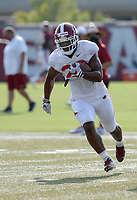 Arkansas running back Dominique Johnson carries the ball Tuesday, Sept. 8, 2020, during practice at the university football practice fields in Fayetteville. Visit nwaonline.com/200909Daily/ for today's photo gallery.<br /> (NWA Democrat-Gazette/Andy Shupe)