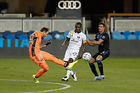 SAN JOSE, CA - SEPTEMBER 16: Steve Clark #12 of the Portland Timbers clears a ball during a game between Portland Timbers and San Jose Earthquakes at Earthquakes Stadium on September 16, 2020 in San Jose, California.