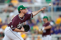 Mississippi State starting pitcher Nick Routt #36 delivers a pitch during the  NCAA baseball game against the LSU Tigers on March 17, 2012 at Alex Box Stadium in Baton Rouge, Louisiana. The 10th-ranked LSU Tigers beat #21 Mississippi State, 4-3. (Andrew Woolley / Four Seam Images).