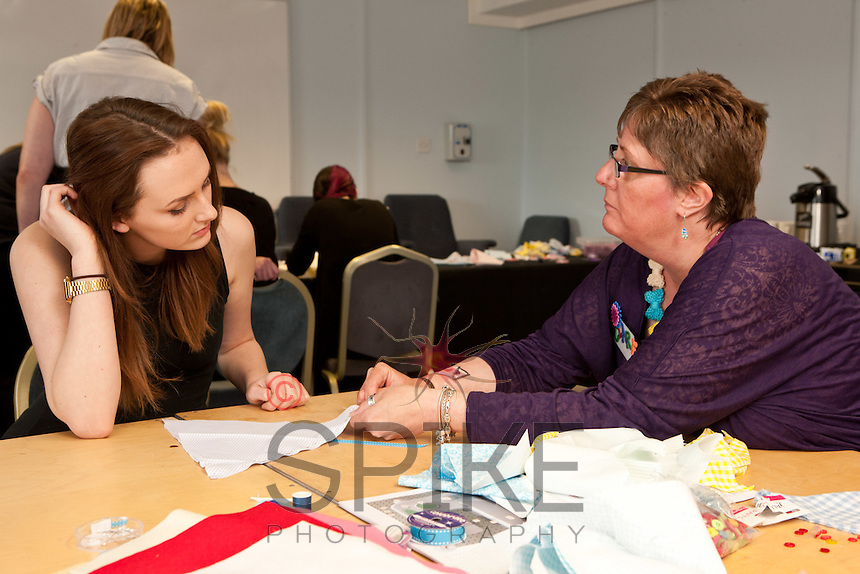 Staff experienced an unsual induction training day for the soon to be opened Derby Hobbycraft store. Picture are Vicky Physick (left) and Clare Leeson