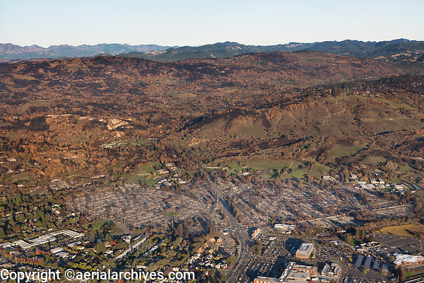 Tubbs Fire, Sonoma County, California, northern California wildfires, 2017.  View from Mark Springs West Road to the east toward the Mayacama Mountains.