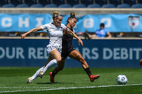 BRIDGEVIEW, IL - JUNE 5: Kristen Hamilton #23 of the North Carolina Courage and Sarah Gorden #11 of the Chicago Red Stars battle for the ball during a game between North Carolina Courage and Chicago Red Stars at SeatGeek Stadium on June 5, 2021 in Bridgeview, Illinois.