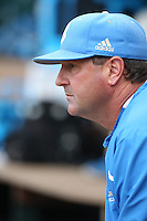 Head Coach John Savage (22) of the UCLA Bruins during a game against the Arizona Wildcats at Jackie Robinson Stadium on May 16, 2015 in Los Angeles, California. UCLA defeated Arizona, 6-0. (Larry Goren/Four Seam Images)