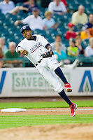 Lakewood BlueClaws third baseman Maikel Franco (18) makes a throw to first base against the Kannapolis Intimidators at FirstEnergy Park on August 8, 2012 in Lakewood, New Jersey.  The BlueClaws defeated the Intimidators 5-0.  (Brian Westerholt/Four Seam Images)