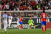 Harrison, NJ - Friday Sept. 01, 2017: Tim Ream, Marco Ureña, Tim Howard during a 2017 FIFA World Cup Qualifier between the United States (USA) and Costa Rica (CRC) at Red Bull Arena.