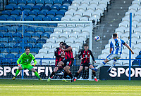 13th April 2021; The John Smiths Stadium, Huddersfield, Yorkshire, England; English Football League Championship Football, Huddersfield Town versus Bournemouth; Jonathan Hogg of Huddersfield Town has his shot blocked by Cameron Carter-Vickers of Bournemouth