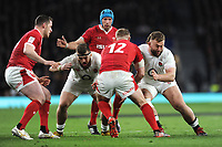 Hadleigh Parkes of Wales runs into Luke Cowan-Dickie and Will Stuart of England during the Guinness Six Nations match between England and Wales at Twickenham Stadium on Saturday 7th March 2020 (Photo by Rob Munro/Stewart Communications)