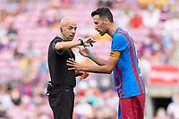 29th August 2021; Nou Camp, Barcelona, Spain; La Liga football league, FC Barcelona versus Getafe; Sergio Busquets of FC Barcelona checks the watch of the referee