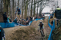 PIDCOCK Tom (GBR/TP Racing) getting some serious air coming down the dirt jump section<br /> <br /> GP Sven Nys (BEL) 2019<br /> DVV Trofee<br /> ©kramon