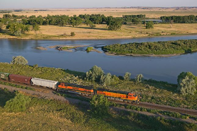 Freight train along Yellowstone River
