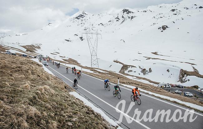riders descending the Passo dello Stelvio (alt: 2758m) towards the finish in Bormio<br /> <br /> Stage 16: Rovett › Bormio (222km)<br /> 100th Giro d'Italia 2017