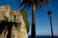 View of the Morrocan coastline from Mirador del Estrecho, Tarifa, Andalusia, Spain.