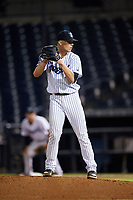 Tampa Tarpons relief pitcher Hobie Harris (23) gets ready to deliver a pitch during the second game of a doubleheader against the Lakeland Flying Tigers on May 31, 2018 at George M. Steinbrenner Field in Tampa, Florida.  Lakeland defeated Tampa 3-2.  (Mike Janes/Four Seam Images)
