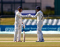 Danny Lamb and Luke Wood of Lancashire during Kent CCC vs Lancashire CCC, LV Insurance County Championship Group 3 Cricket at The Spitfire Ground on 23rd April 2021