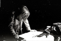 Montreal (qc) CANADA - file Photo - 1991 - <br /> <br /> <br />  - Festival Juste Pour Rire 1991 -  Dominique Michel review her text backstage before hosting the Gala at Theatre Saint-Denis