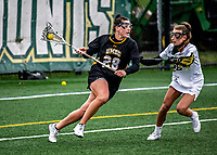 17 April 2021: UMBC Retriever Attacker Claire Bockstie, a Sophomore from Forest Hill, MD, in action against the University of Vermont Catamounts at Virtue Field in Burlington, Vermont. The Catamounts fell to the Retrievers 11-8 in the America East Women's Lacrosse matchup. Mandatory Credit: Ed Wolfstein Photo *** RAW (NEF) Image File Available ***