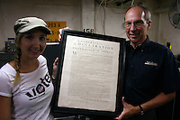 Christie Manning, Program Manager of Declare Yourself and Scott McGaugh, Director of Marketing for the USS Midway Museum pose with a 1776 copy of the Declaration of Independence in a vault aboard the USS Midway, San Diego, CA, USA, July 3rd 2008.  The document was in town for just a few days as part of a campaign to encourage young people to register and vote.
