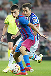 FC Barcelona's Pedri Gonzalez (l) and Real Sociedad's Mikel Oyarzabal during La Liga match. August 15, 2021. (ALTERPHOTOS/Acero)