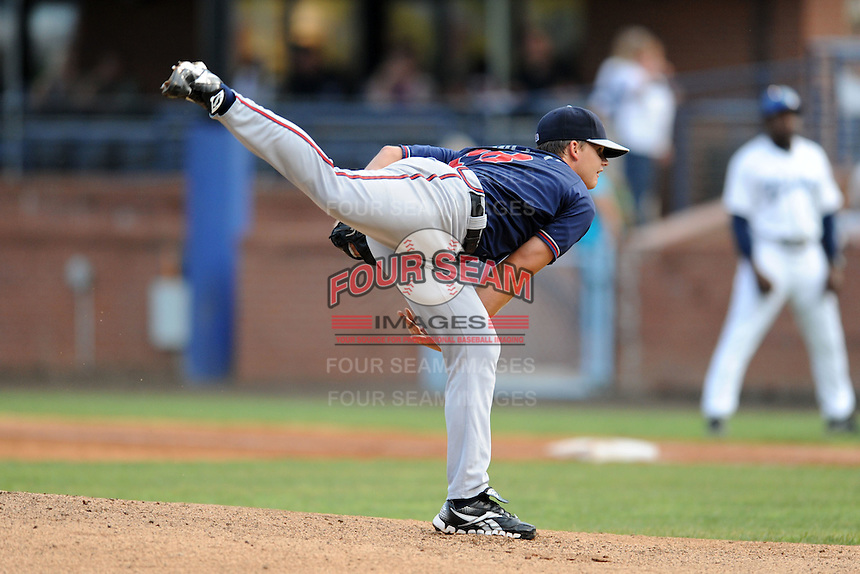 Rome Braves starting pitcher Jarrett Miller #18 delivers a pitch during a game against the Asheville Tourists at McCormick Field on June 23, 2012 in Asheville, North Carolina.  The Braves defeated the Tourists 4-2. (Tony Farlow/Four Seam Images).