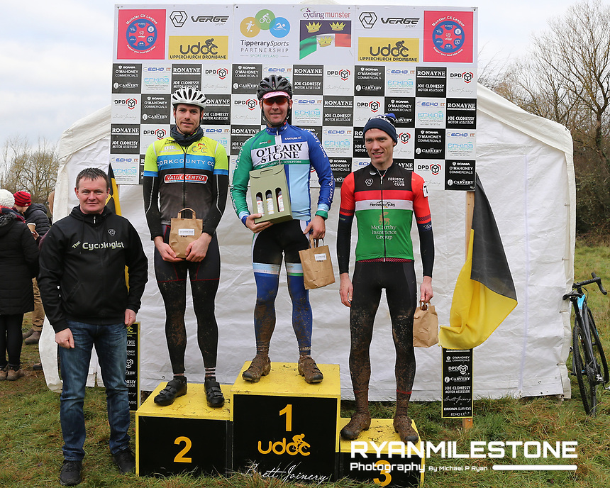 EVENT:<br /> Round 5 of the 2019 Munster CX League<br /> Drombane Cross<br /> Sunday 1st December 2019,<br /> Drombane, Co Tipperary<br /> <br /> CAPTION:<br /> Podium of the B Race. <br /> 1st place Daniel Lynch of O'Leary Stone<br /> 2nd Place Stephen Darby of Cork County<br /> 3rd Place Stephen McGrath of Fermoy CC<br /> <br /> Photo By: Michael P Ryan