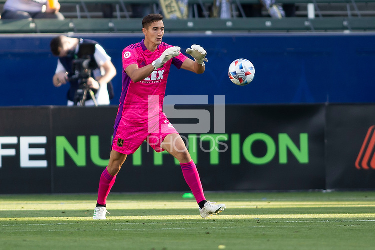 CARSON, CA - MAY 8: Pablo Sisniega #23 GK of LAFC makes a save during a game between Los Angeles FC and Los Angeles Galaxy at Dignity Health Sports Park on May 8, 2021 in Carson, California.