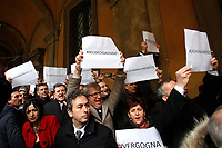 Protest of Senators of Democratic Party against Movement 5 Stars. M5S parliamentarians have always voted in favor of the trials, apart for this time<br /> Rome February 19th 2019. Senate immunity commission at Sant'Ivo alla Sapienza palace.  The commission voted to retain immunity from prosecution for the Minister of Internal Affairs Matteo Salvini. Last August 20th a ship, carrying 177 migrants (among them many minors) docked in the harbour of Catania but Minister Salvini took the decision to block migrants of Diciotti ship at sea. For that reason the magistracy accused the minister of kidnapping.<br /> Foto Samantha Zucchi Insidefoto