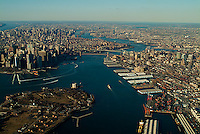 aerial photograph East River, Governor's Island, Brooklyn, Manhattan, New York City