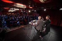 Pressekonferenz anlaesslich der Praesentation von DiEM (Democracy in Europe Movement) am 9. Februar 2016 im Roten Salon der Volksbuehne am Rosa-Luxemburg-Platz. Der ehemalige griechsche Finanzminister und Yanis Varoufakis (links) stellte vor 70 bis 80 Journalisten die Ideen der Organisation vor.<br /> Rechts im Bild: Srecko Horvat, kroatischer Philosoph.<br /> 9.2.2016, Berlin<br /> Copyright: Christian-Ditsch.de<br /> [Inhaltsveraendernde Manipulation des Fotos nur nach ausdruecklicher Genehmigung des Fotografen. Vereinbarungen ueber Abtretung von Persoenlichkeitsrechten/Model Release der abgebildeten Person/Personen liegen nicht vor. NO MODEL RELEASE! Nur fuer Redaktionelle Zwecke. Don't publish without copyright Christian-Ditsch.de, Veroeffentlichung nur mit Fotografennennung, sowie gegen Honorar, MwSt. und Beleg. Konto: I N G - D i B a, IBAN DE58500105175400192269, BIC INGDDEFFXXX, Kontakt: post@christian-ditsch.de<br /> Bei der Bearbeitung der Dateiinformationen darf die Urheberkennzeichnung in den EXIF- und  IPTC-Daten nicht entfernt werden, diese sind in digitalen Medien nach §95c UrhG rechtlich geschuetzt. Der Urhebervermerk wird gemaess §13 UrhG verlangt.]