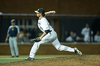 Wake Forest Demon Deacons relief pitcher Griffin Roberts (43) delivers a pitch to the plate against the West Virginia Mountaineers in Game Four of the Winston-Salem Regional in the 2017 College World Series at David F. Couch Ballpark on June 3, 2017 in Winston-Salem, North Carolina.  The Demon Deacons walked-off the Mountaineers 4-3.  (Brian Westerholt/Four Seam Images)