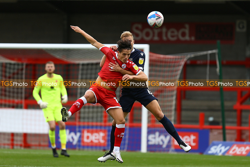 Harry Davis of Morecambe and Tom Nichols of Crawley Town during Crawley Town vs Morecambe, Sky Bet EFL League 2 Football at Broadfield Stadium on 17th October 2020