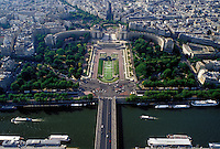 France, Paris, Ile de France, France, Aerial view of Jardins du Trocadero along the Seine River looking Northwest from the Eiffel Tower.