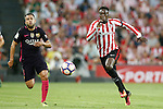 Athletic de Bilbao's Inaki Williams (r) and FC Barcelona's Jordi Alba during La Liga match. August 28,2016. (ALTERPHOTOS/Acero)
