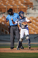 Glendale Desert Dogs Garrett Stubbs (4), of the Houston Astros organization, throws the ball back to the pitcher as umpire Tom Woodring makes a strike call during a game against the Mesa Solar Sox on October 20, 2016 at Camelback Ranch in Glendale, Arizona.  Glendale defeated Mesa 3-2.  (Mike Janes/Four Seam Images)