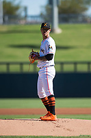 Salt River Rafters starting pitcher Jordan Yamamoto (20), of the Miami Marlins organization, gets ready to deliver a pitch during an Arizona Fall League game against the Surprise Saguaros at Salt River Fields at Talking Stick on November 5, 2018 in Scottsdale, Arizona. Salt River defeated Surprise 4-3 . (Zachary Lucy/Four Seam Images)