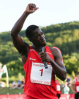 Tuesday 15th July 2014<br /> Pictured: Christian Malcolm<br /> RE: Welsh sprinter Christian Malcolm, looking emotional as he waves to spectators after running his last race on home soil at the Welsh Athletics International in the Cardiff International Sports Stadium, South Wales, UK.