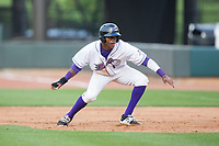 Luis Alexander Basabe (16) of the Winston-Salem Dash takes his lead off of first base against the Myrtle Beach Pelicans at BB&T Ballpark on May 11, 2017 in Winston-Salem, North Carolina.  The Pelicans defeated the Dash 9-7.  (Brian Westerholt/Four Seam Images)