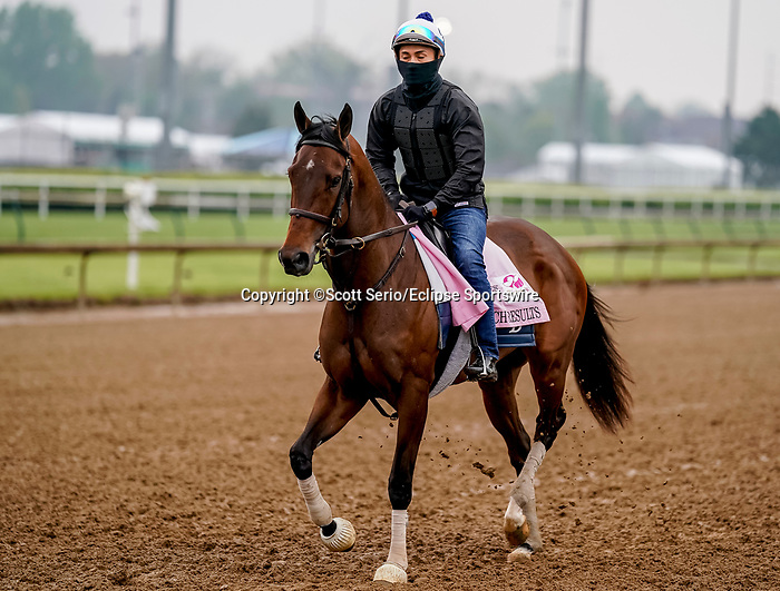 April 25, 2021: Search Results, trained by trainer Chad Brown, exercises in preparation for the Kentucky Oaks at Churchill Downs on April 25, 2021 in Louisville, Kentucky. Scott Serio/Eclipse Sportswire/CSM