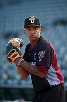 Wisconsin Timber Rattlers pitcher Devin Williams (20) throws in the bullpen before a game against the Peoria Chiefs on August 21, 2015 at Dozer Park in Peoria, Illinois.  Wisconsin defeated Peoria 2-1.  (Mike Janes/Four Seam Images)