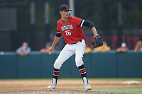 Northeastern Huskies relief pitcher Brandon Dufault (26) in action against the North Carolina State Wolfpack at Doak Field at Dail Park on June 2, 2018 in Raleigh, North Carolina. The Wolfpack defeated the Huskies 9-2. (Brian Westerholt/Four Seam Images)