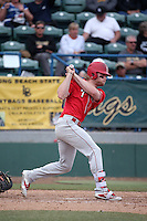 Elijah Dilday (7) of the Nebraska Cornhuskers bats against the Long Beach State Dirtbags in the first game of a doubleheader at Blair Field on March 5, 2016 in Long Beach, California. Long Beach State defeated Nebraska, 1-0. (Larry Goren/Four Seam Images)