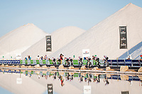 Team Trek-Segafredo taking the start at the salt lake (factory) in Torrevieja <br /> <br /> Stage 1 (TTT): Salinas de Torrevieja to Torrevieja (13.4km)<br /> La Vuelta 2019<br /> <br /> ©kramon