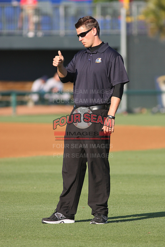 Myrtle Beach Pelicans strength coach Ryan McNeal before a game against the Wilmington Blue Rocks at Tickerreturn.com Field at Pelicans Ballpark on April 8, 2012 in Myrtle Beach, South Carolina. Wilmington defeated Myrtle Beach by the score of 3-2. (Robert Gurganus/Four Seam Images)