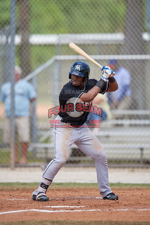 Miami Marlins right fielder Terry Bennett (87) at bat during a minor league Spring Training game against the New York Mets on March 26, 2017 at the Roger Dean Stadium Complex in Jupiter, Florida.  (Mike Janes/Four Seam Images)