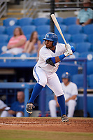 Dunedin Blue Jays third baseman Juan Kelly (25) at bat during a game against the St. Lucie Mets on April 19, 2017 at Florida Auto Exchange Stadium in Dunedin, Florida.  Dunedin defeated St. Lucie 9-1.  (Mike Janes/Four Seam Images)