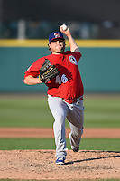 Buffalo Bisons pitcher Mike Zagurski (46) delivers a pitch during the second game of a doubleheader against the Rochester Red Wings on July 6, 2014 at Frontier Field in Rochester, New  York.  Rochester defeated Buffalo 6-1.  (Mike Janes/Four Seam Images)