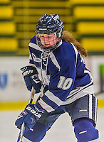 13 February 2015: University of New Hampshire Wildcat Defender Amy Schlagel, a Freshman from Blaine, MN, in third period action against the University of Vermont Catamounts at Gutterson Fieldhouse in Burlington, Vermont. The Lady Wildcats defeated Vermont 4-2 in the first game of their weekend Hockey East series. Mandatory Credit: Ed Wolfstein Photo *** RAW (NEF) Image File Available ***