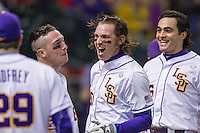 LSU Tigers third baseman Conner Hale (20) celebrates with Alex Bregman (8) and Chris Chinea (26) after belting a 2 run home run during the NCAA baseball game against the Houston Cougars on March 6, 2015 at Minute Maid Park in Houston, Texas. LSU defeated Houston 4-2. (Andrew Woolley/Four Seam Images)