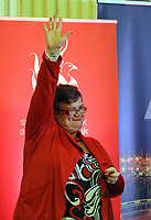 Pictured: Labour candidate for Swansea East constituency Carolyn Harris celebrates her win as the results are announced.  Friday 09 June 2017<br />